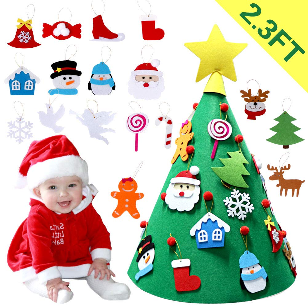OurWarm 3D DIY Felt Christmas Tree with Hanging Ornaments