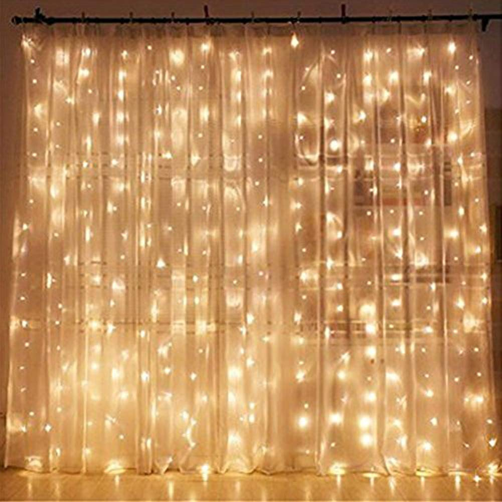 Twinkle Star 300 LED Window Curtain String Light Wedding Party Home Garden Bedroom Outdoor Indoor Wall Decorations, Warm White.