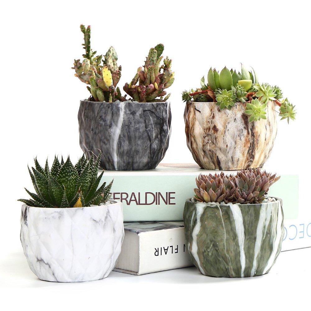 Sun-E Modern Style Marbling Ceramic Flower Pot Succulent