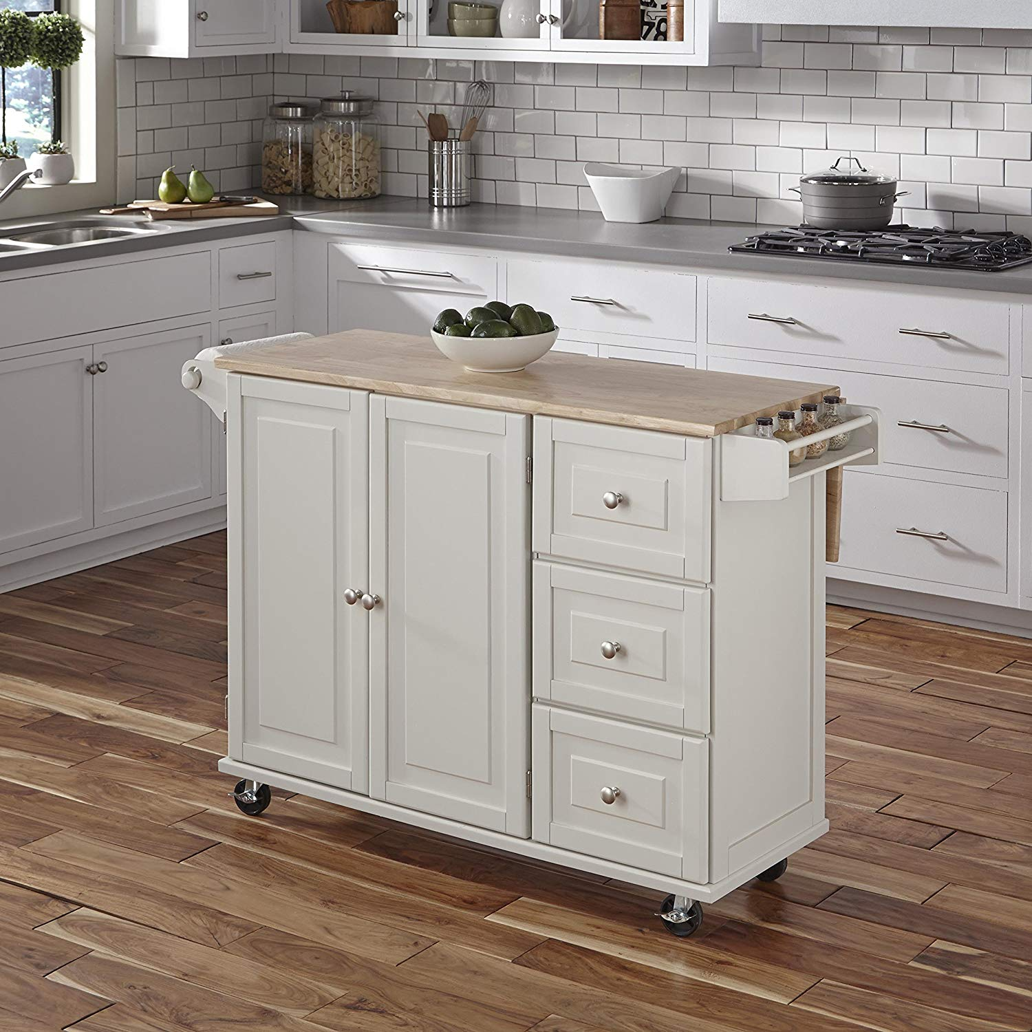 Liberty White Kitchen Cart with Wood Top by Home Styles.
