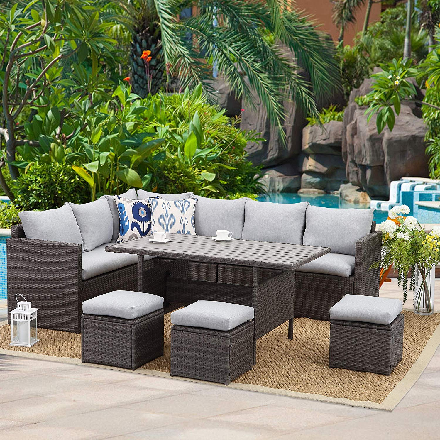 Wisteria Lane Patio Furniture Set,7 PCS Outdoor Conversation Set