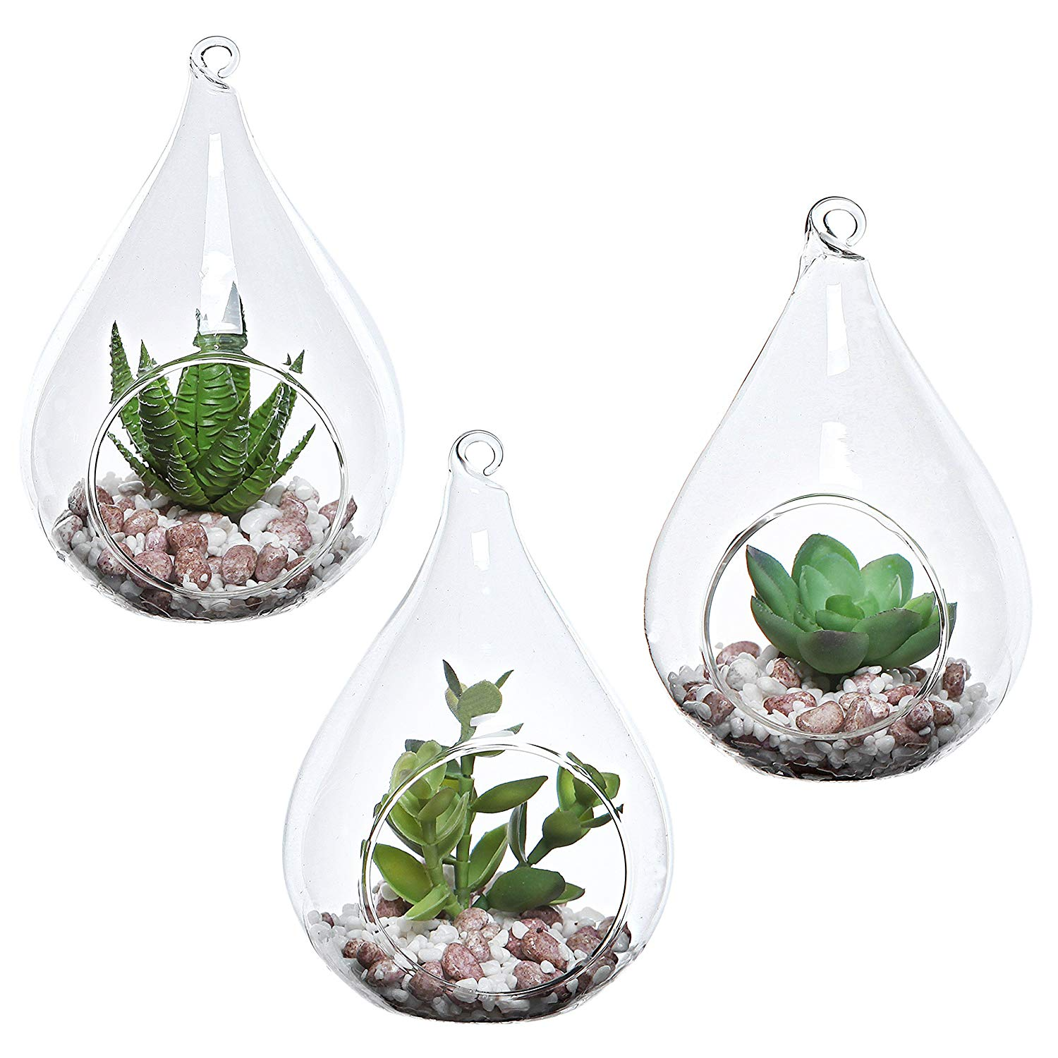 MyGift Set of 3 Teardrop Design Hanging Glass Faux Succulent Plant Terrarium Pots.