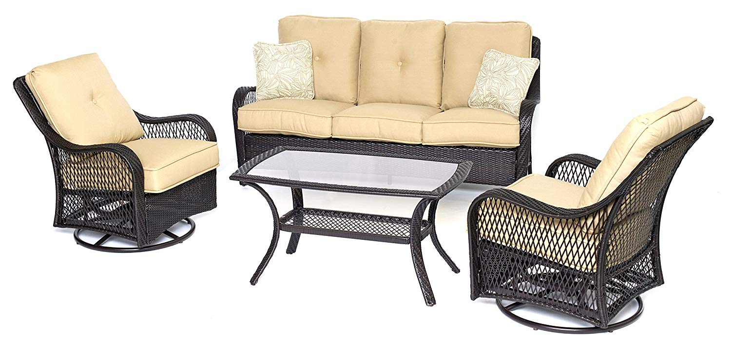 Hanover ORLEANS4PCSW-B-TAN Orleans 4 Piece All-Weather Patio Set