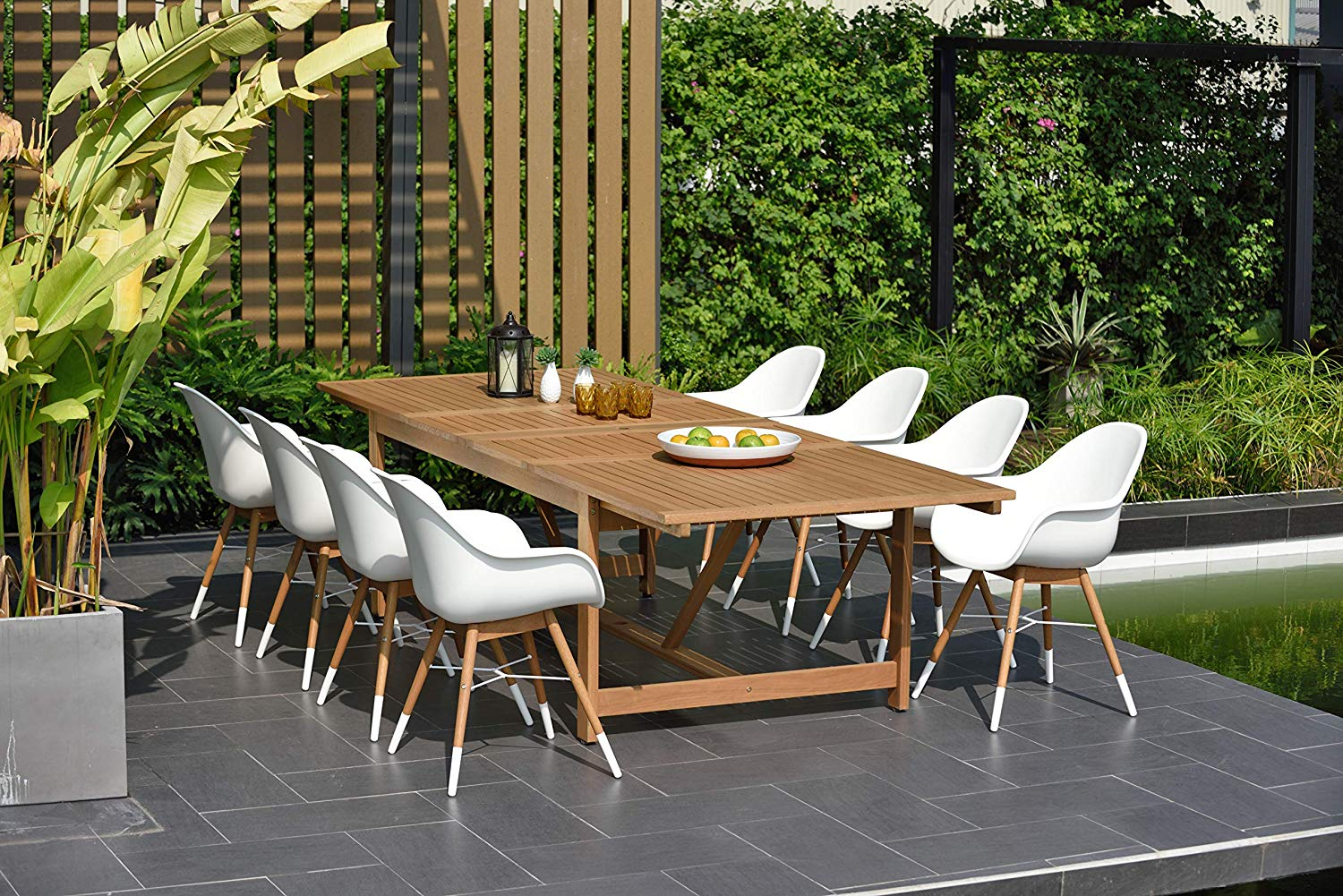 Brampton 9 Piece Outdoor Eucalyptus Extendable Dining Set