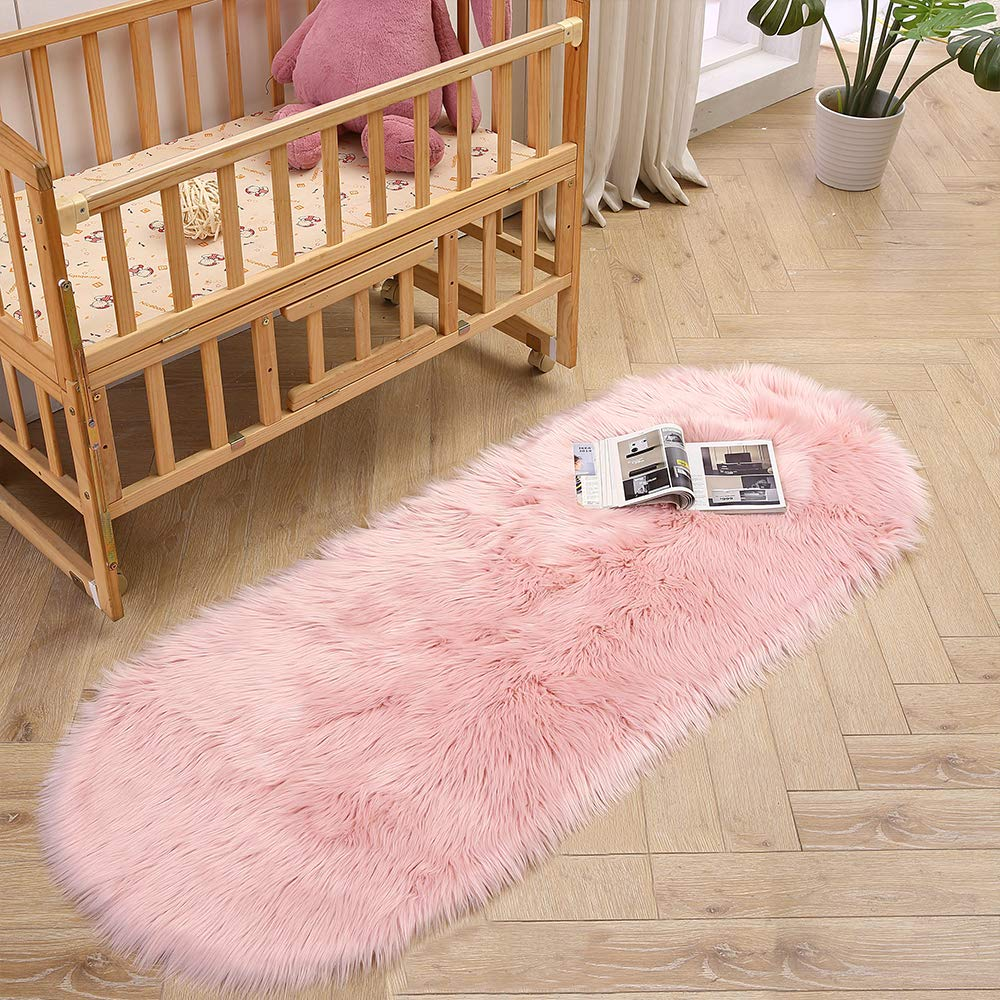 LEEVAN Super Soft Round Rug Faux Fur Wool Oval Carpet